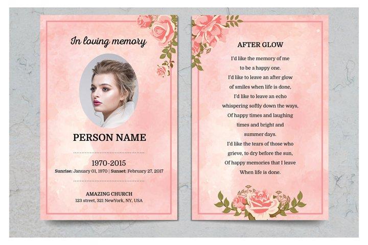 Rose Gold Prayer Card Template