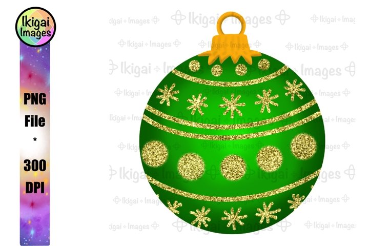 Green Christmas Ornament With Gold Glitter, Sublimation PNG