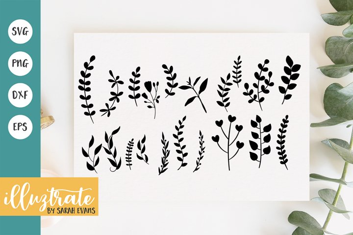 Fern and wild flowers SVG Cut File | Leaves SVG Cut File
