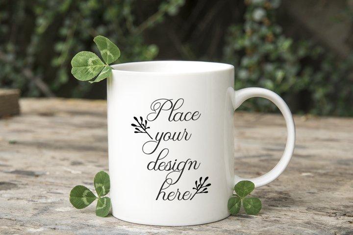 PSD St Patricks Coffee mug mockup 11oz spring mugs template