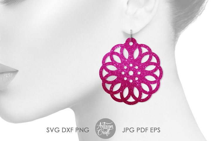 Geometric earring SVG, Leather earring template, Cut file example 1
