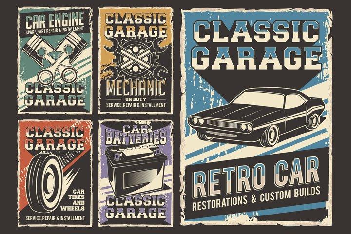 Retro Classic Automotive Signage Poster