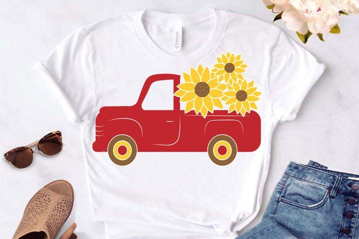 Sunflower Red Truck svg, Sunflower Red Truck Cricut ,