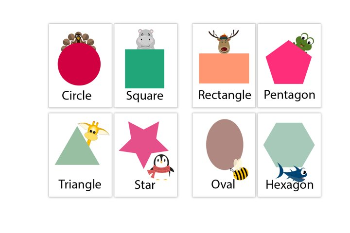 Printable Shapes Flash Cards, Animal shapes flash cards