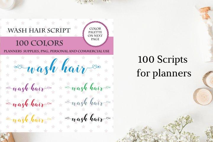 Wash Hair Sticker Planner Font Clipart, Wash Hair sticker