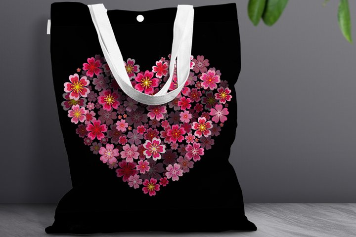 Love Valentines Day Sublimation, Flower Heart PNG