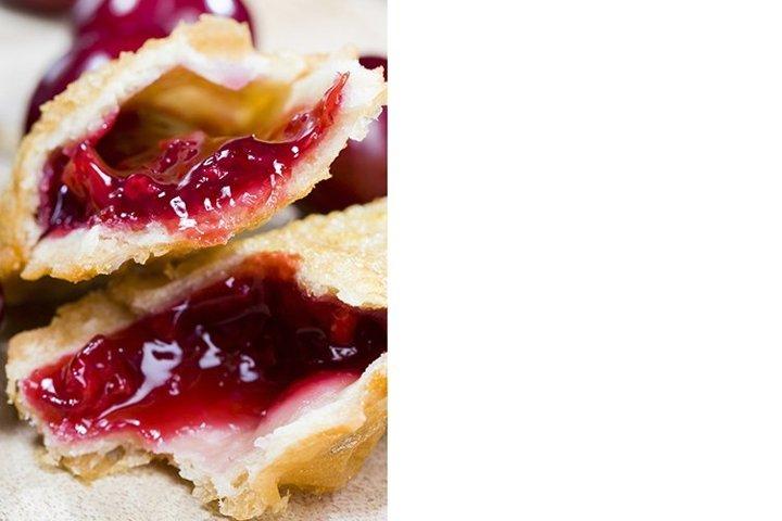 cherry jam in a crispy bun