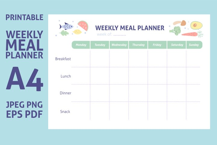 Weekly Meal Planner Printable Template A4