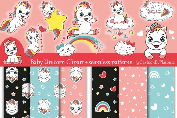 Baby unicorn clipart and seamless patterns