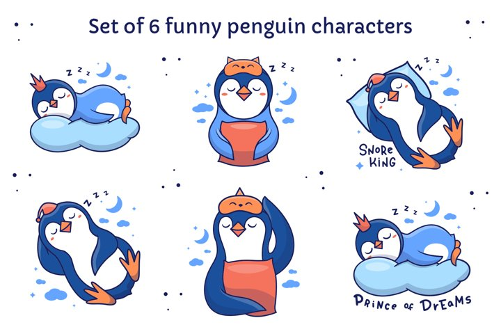 Set of sleepy pebguin characters