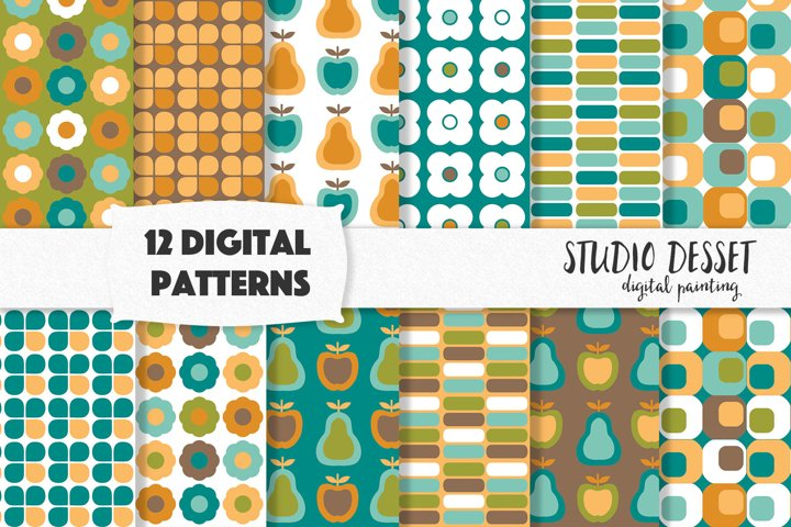 Retro Digital Papers in Blue and Brown