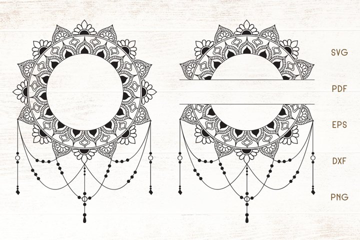 Floral Decorative Frame - Split Monogram Frame SVG