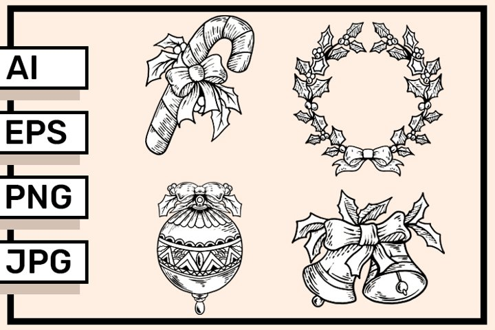Collection Hand drawn christmas element vector