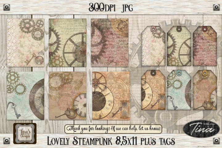Lovely Steampunk Designs, Tags & Bookmarks Colorful crisp