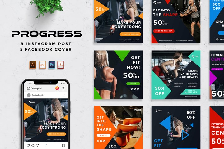 Progress - Gym & Fitness Social Media Pack