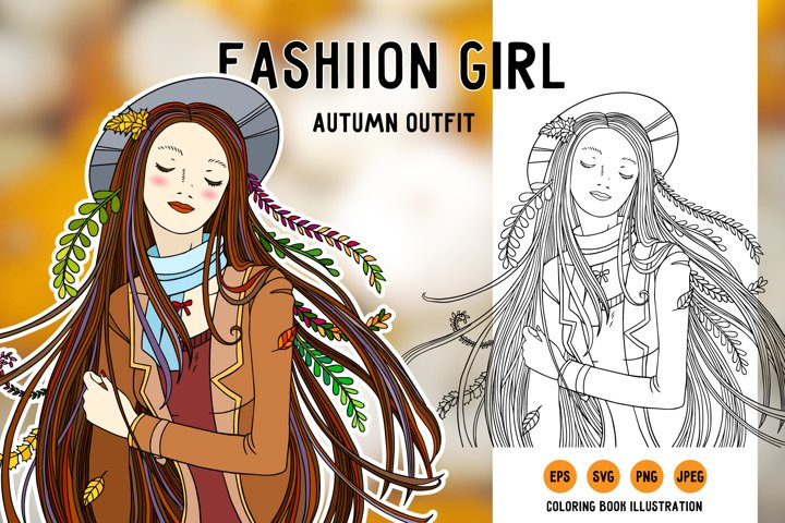 Fashion girl in autumn outfit. SVG clipart coloring page.