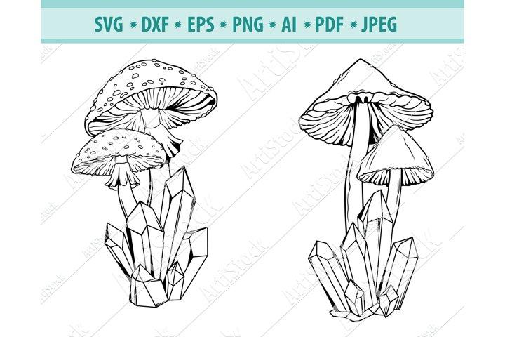 Mushroom Svg, Crystal Mushroom SVG, Crystal Dxf, Png, Eps