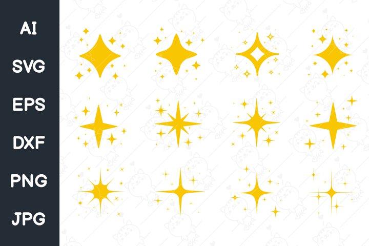 Vector golden yellow light sparkling.Glittering golden flash