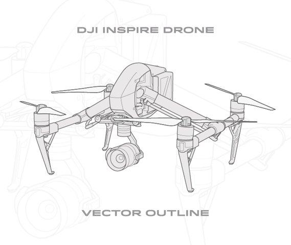 DJI Inspire Drone - Vector Outlines