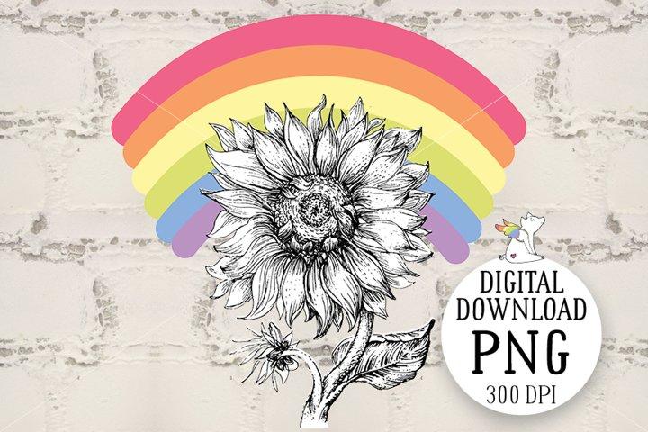 Sunflower Rainbow, Lgbt Clipart, LGBTQ Pride, Sublimation