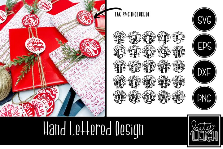 December 1- 25 Christmas Hand Lettered Rounds