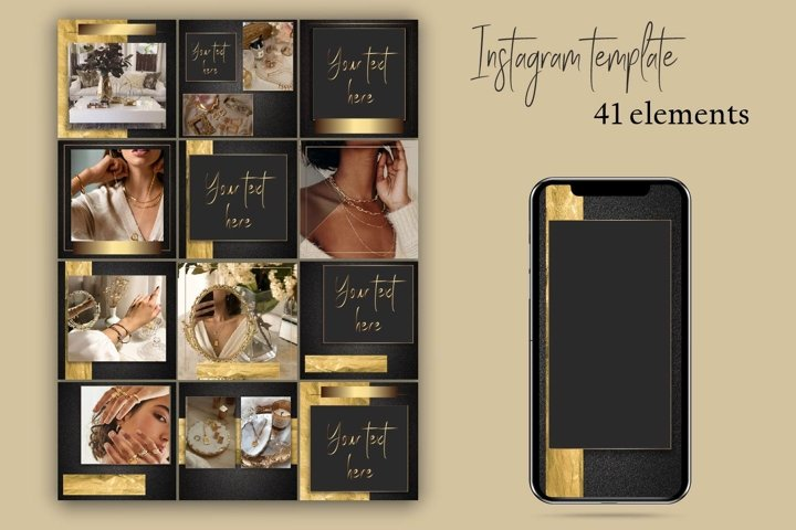 Black and gold instagram template