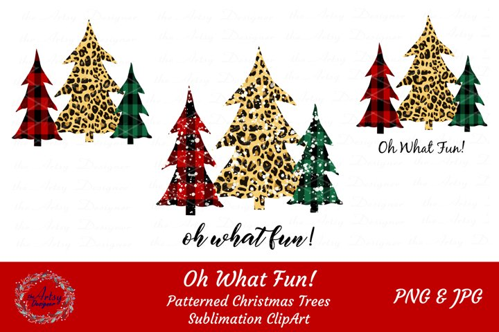 Plaid Leopard Christmas Trees Oh What Fun Sublimation Bundle
