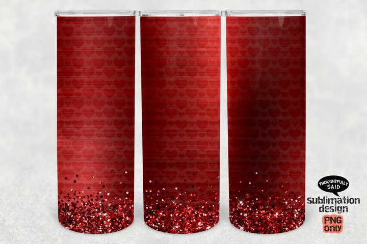 Red Hearts Glitter Skinny Tumbler SUBLIMATION png, Valentine
