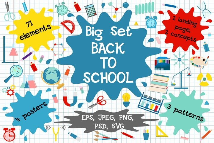 Back to school vector clipart and patterns.