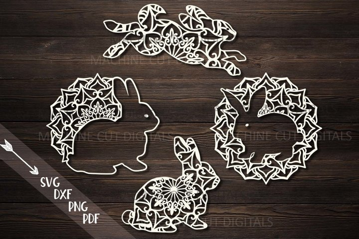 Mandala Easter bunnies cut out set svg dxf pdfcutting files