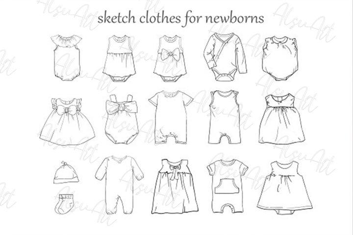 Baby clothing set vector illustration
