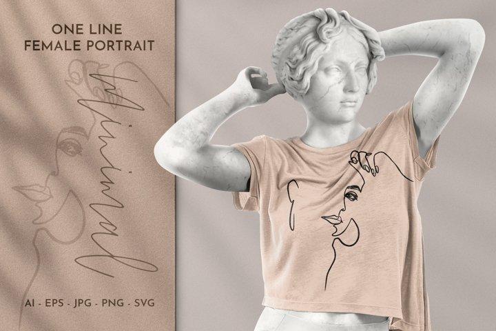 One Line Art Woman Face|Line Art Woman Face PNG