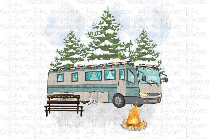 Christmas Camper Motorhome Camping Scene
