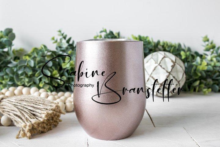 Styled Stock Photo Rose Gold Wine Tumbler Drinkware Mockup