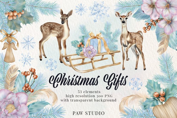 Christmas Gifts Box Deer Flowers Snowflake Clipart New Year
