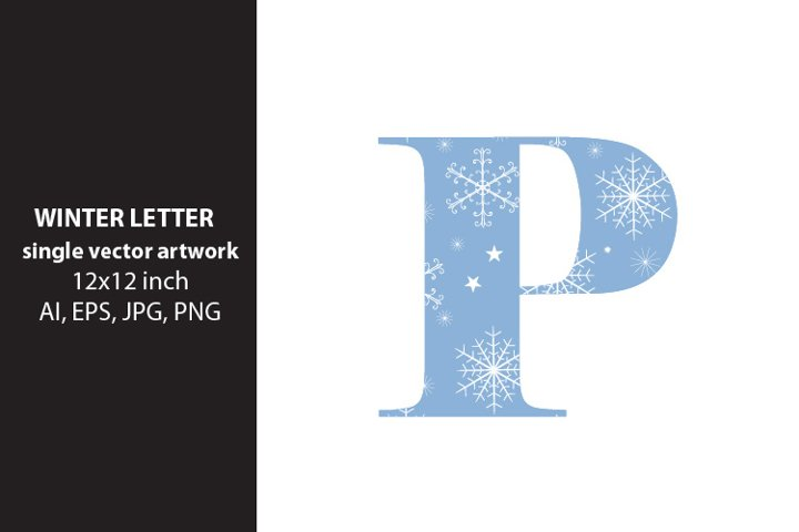 winter, monogram letter p