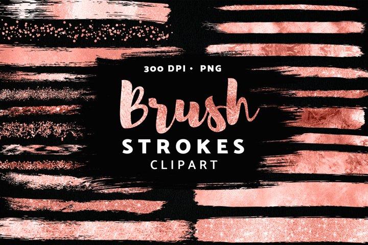 Rose Gold Brush Strokes Clipart, Glitter Confetti Clipart