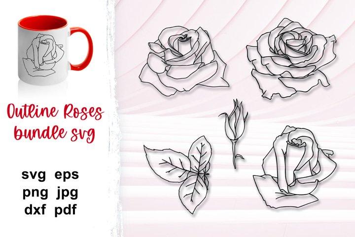 Rose outline svg bundle, flower outline, cut flowers, SVG.