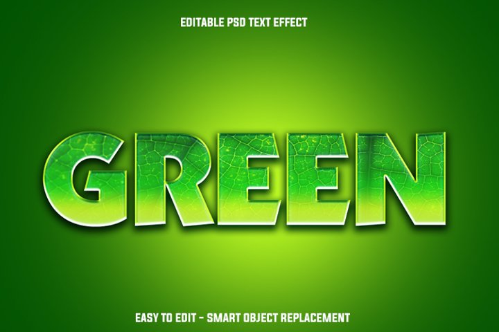 green leaf text effect