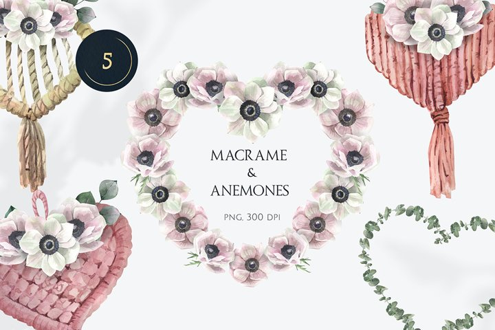 Macrame and Anemones Watercolor Hearts