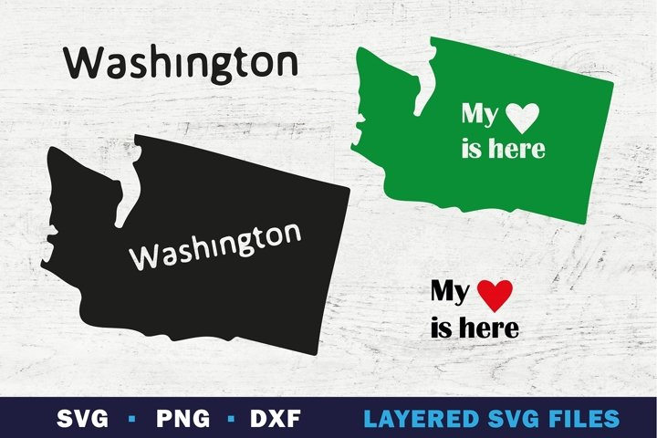 WASHINGTON state map SVG, My Heart is here sign on state
