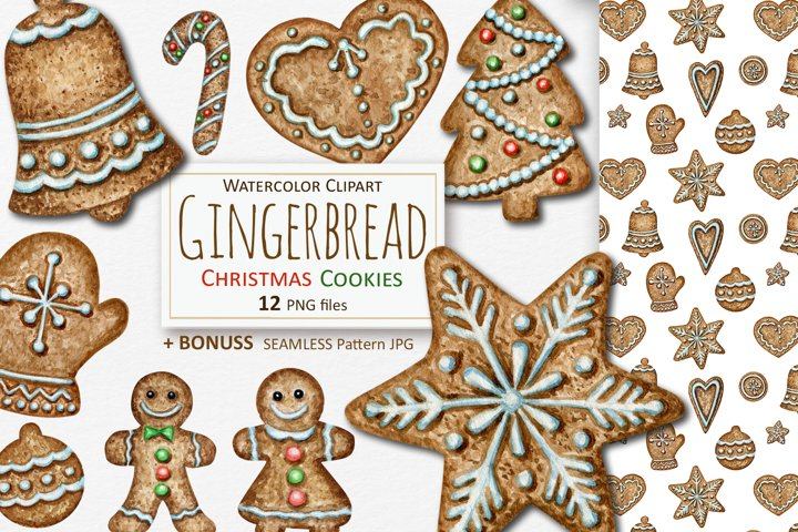 Watercolor Christmas Gingerbread cookies Clipart and Pattern