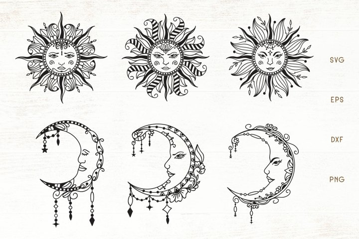 Sun - Moon Mandala - Zentangle Sun | Croscent Moon SVG