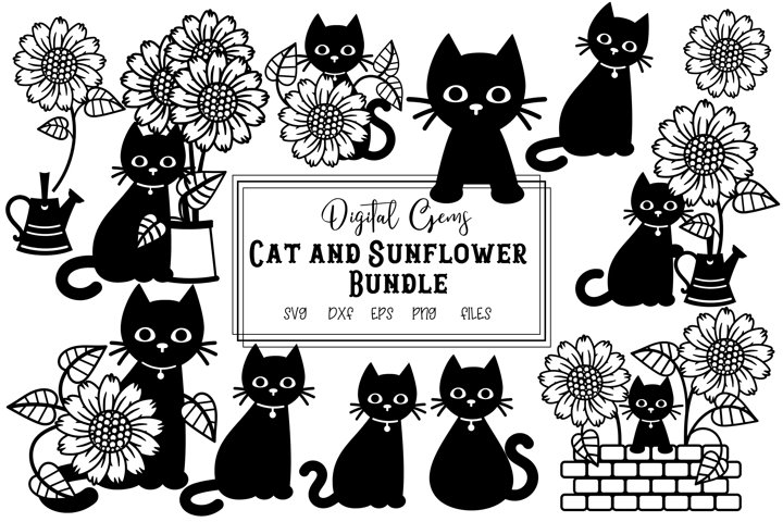 Cat and sunflower bundle SVG / PNG / EPS / DXF files