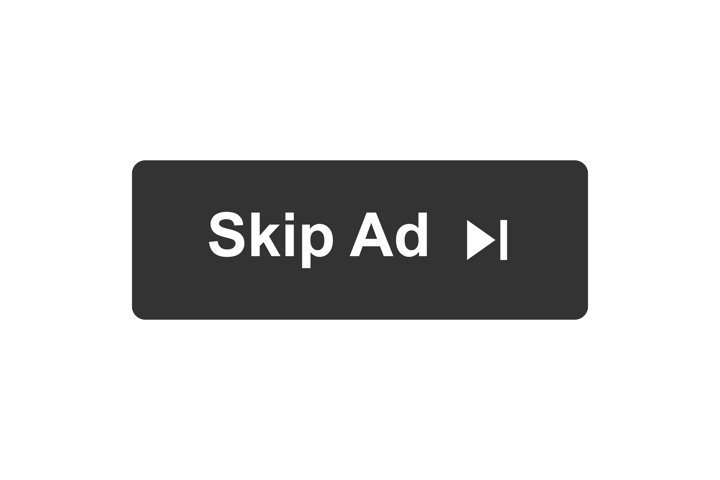 Skip ad button in flat style