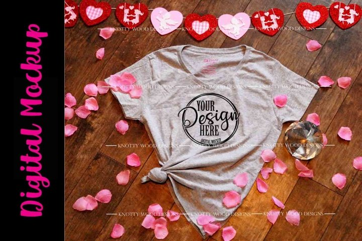 Valentine Mockup - Grey V neck T-shirt - Downloadable JPEG