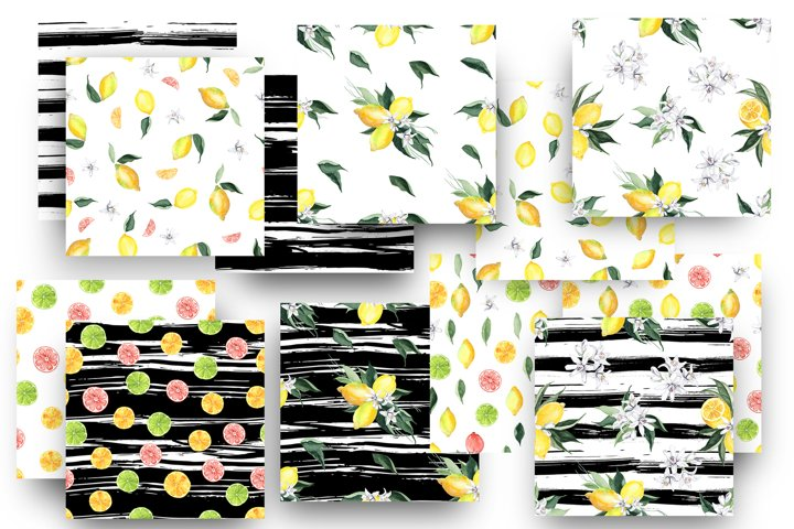 Watercolor Lemon Patterns. PNG, JPG