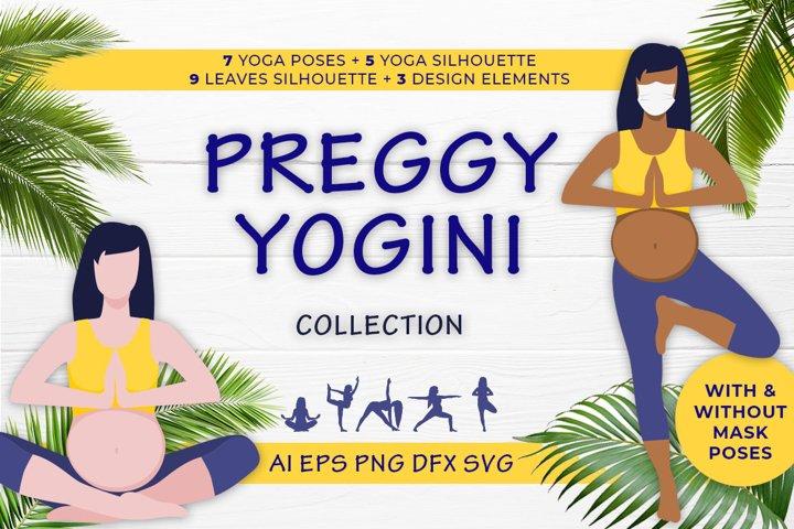 Preggy Yogini yoga pregnance poses vector collection