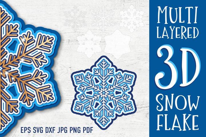Layered Snowflake SVG | 3D Cut Files