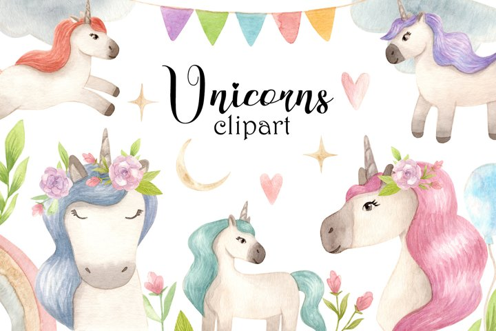 Watercolor Unicorns. Cliparts and Pattern